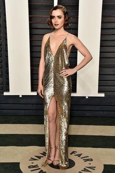Lily Collins look Saint Laurent Oscar 2016 - party dress / vestido de festa
