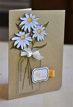 daisy's in a mason jar greeting card