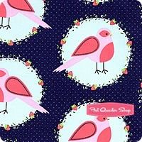 Blueberry Flower Bird from Front Yard by Sandra Clemons for Michael Miller Fabrics