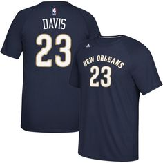 adidas Men's New Orleans Pelicans Anthony Davis #23 climalite Navy T-Shirt