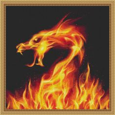 Cross Stitch? Yes Cross Stitch - Counted Cross Stitch Pattern Fiery Dragon Fractal
