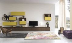 Add some color to your living room with modular shelves