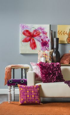 Love the Pop of Colors on the White Couch