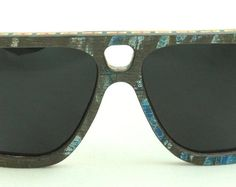 Wooden Sunglasses handmade from upcycled skateboards by Wooden Sunglasses, Oakley Sunglasses, Blue Grey, Eyewear, Upcycle, Trending Outfits, Unique Jewelry, Handmade Gifts, Vintage