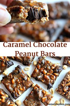 Caramel Chocolate Peanut Bars- Chewy caramel bars with a buttery oat crust. Peanut add crunch and chocolate adds mmmm! |The Monday Box