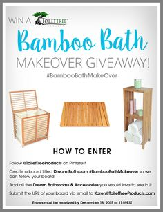 Would you love to give your bathroom a makeover? Do you enjoy spending time on Pinterest? Then this contest is for you! One lucky winner will receive a full ToiletTree Products Bamboo Bathroom Makeover Set. #BambooBathMakeOver