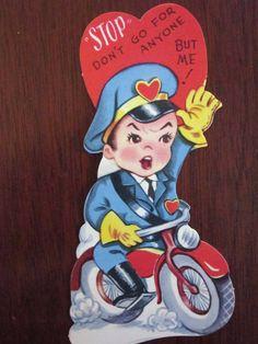 Vintage Fifties Valentine Card Made in USA Die Cut Unused 1950s Policeman on a Motorcycle.