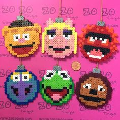 The Muppets Christmas bauble set Hama perler beads by Zo Zo Tings Christmas Perler Beads, Beaded Christmas Ornaments, Pearler Bead Patterns, Perler Patterns, Muppets Christmas, Art Perle, Beaded Banners, Hama Beads Design, Peler Beads