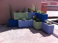 Cinder block planter, idea from Pinterest.