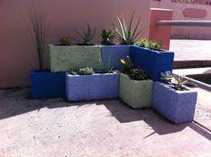 Cinder block planter, idea from Pinterest.