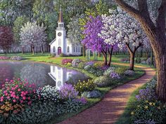 Grove Cast diamond painting cross stitch full diamond embroidery home decoration square drill scenic square stones pattern Beautiful Paintings, Beautiful Landscapes, Beautiful Gardens, Beautiful Places, Beautiful Pictures, Beautiful Scenery, Thomas Kinkade, 5d Diamond Painting, Paint By Number