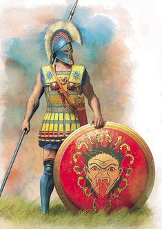 Hoplita griego, posiblemente ateniense, dado el adorno semejante al Sol de Vergina que lleva en las hombreras, símbolo que ya era conocido en Grecia antes de su difusión durante el Imperio Macedonio. Cortesía de Christos Giannopoulos.