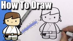 How To Draw Cute Cartoon Luke Skywalker - EASY Chibi - Step By Step   Ka...