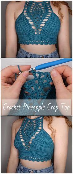 Top Crop Tejido En Crochet, Crochet Halter Tops, Diy Crochet Swimsuit, Diy Crochet Crop Top, Crotchet Crop Top, Crochet Bikini Top, Boho Crochet, Crochet Fashion, Kids Crochet