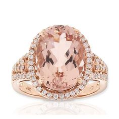 Morganite & Diamond Ring 14K