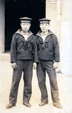 Japanese Sailors in Uniform at Yokosuka, Japan 1938