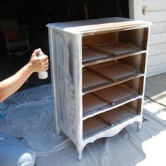 Furniture refinishing tutorial do-it-yourself. Looking at this thinking add legs, overhanging top, front trim, and edge caps to up cycle a boring bookcase