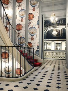 The Saint James Chateau Hotel, Paris.  The original site of the hotel used to be a hot air balloon airfield, hence the wallpaper. Only remaining chateau hotel in Paris.  More pics of this lovely hotel here:  http://birdcagedesign.wordpress.com/2012/04/17/the-whimsical-style-of-bambi-sloan-taking-inspiration-from-the-past-and-bringing-it-to-the-present/