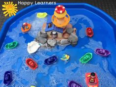 Lighthouse with Boats Tuff Tray Small World Scene Eyfs Activities, Nursery Activities, Infant Activities, Activities For Kids, Indoor Activities, Beach Party Games, Toddler Party Games, Toddler Play, Tuff Spot
