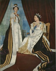 HM Queen Elizabeth The Queen Mother and HRH The Princess Margaret in robes for the Coronation, 1953 Hm The Queen, Save The Queen, King Queen, Lady Elizabeth, Princess Elizabeth, Princesa Margaret, Queen's Coronation, Margaret Rose, Queen Elizabeth