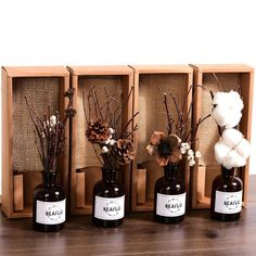 Brand New Fashion Artificial Flower Natural Plant Dried with Small Brown Bottle