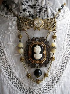 Vintage Jewelry Crafts Upcycled Vintage Jewelry Assemblage by VintageWonderlandGA on Etsy - Vintage Jewelry Crafts, Funky Jewelry, Old Jewelry, Charm Jewelry, Antique Jewelry, Recycled Jewelry, Vintage Necklaces, Jewelry Clasps, Jewelry Art