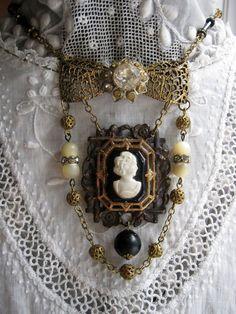 Vintage Jewelry Crafts Upcycled Vintage Jewelry Assemblage by VintageWonderlandGA on Etsy - Vintage Jewelry Crafts, Funky Jewelry, Old Jewelry, Charm Jewelry, Antique Jewelry, Jewelry Making, Vintage Necklaces, Recycled Jewelry, Jewelry Clasps