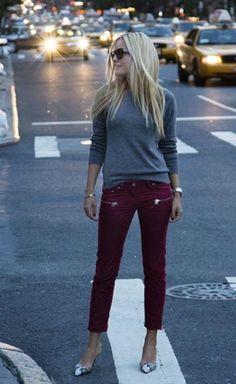 26 Ways to Wear Burgundy Jeans or Pants // burgundy denim / grey sweater / snakeskin pumps