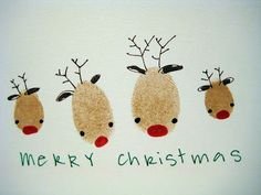 This is such an adorable Christmas card. Perfect craft idea for family! Thumb prints of every member of the family decorated as reindeer. I would love to make some of these myself. Great for preschoolers too!