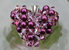 Pretty beaded puffed heart     Blackberry Shadow Heart Necklace Swarovski Pearl by HandmadeJILLry,
