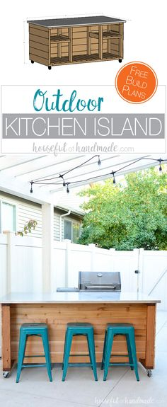 Create The Perfect Outdoor Kitchen Area With These Outdoor Kitchen Island Build Plans. This Portable Kitchen Island Will Transform Your Barbecue Into A Functional Outdoor Kitchen With This Easy To Build Kitchen Island. Build Kitchen Island, Portable Kitchen Island, Outdoor Kitchen Countertops, Patio Kitchen, Outdoor Kitchen Design, Outdoor Kitchens, Stone Kitchen, Kitchen Counters, Kitchen Islands