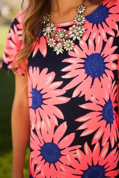 Bright Pink Flower Top worn with a Blingy Statement Necklace, Modest + Perfect for Spring