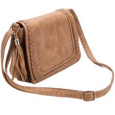 Yoins Brown Tassel Embellished  Shoulder Bag with Magnetic Closure (47 BAM) ❤ liked on Polyvore featuring bags, handbags, shoulder bags, embellished handbags, shoulder handbags, beige shoulder bag, tassel shoulder bag and vegan handbags