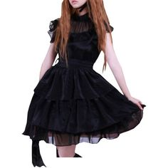 Partiss Women's Rayon Sash Ruffles Gothic Lolita Dress at Amazon... ($50) ❤ liked on Polyvore featuring dresses, flounce dress, frilly dresses, viscose dress, flouncy dress and gothic clothing dresses