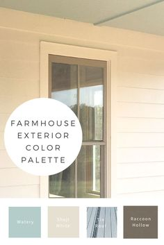 My favorite color palette for a farmhouse exterior with a tin roof. Porch ceiling Watery blue, Shoji white, and window sashes in Raccoon Hollow. (Diy Decoracion Exterior)