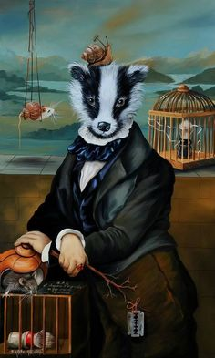 Anthropomorphic painting of a badger in a suit by Sylvia Karle Marquet