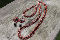 Twin Beaded Necklace, Bracelet, Earrings. Black and Red Classic Color, Silver Hooks for earrings, Gift for Her