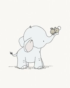 Elephant and Bunny Nursery Art -- Hold On Tight -- Elephant and Bunny -- Nursery Art Print -- Nursery Decor-- Children Art, Kids Wall Art