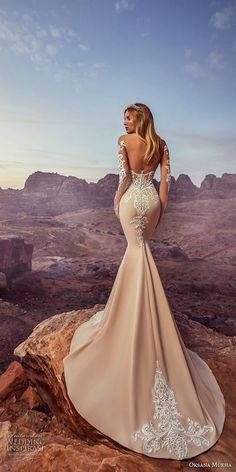 oksana mukha 2018 bridal long sleeves glamorous mermaid wedding dress open scoop back chapel train (deva) mv