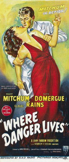 vintage movie poster:  where danger lives