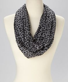 Gray & Black Animal Burnout Infinity Scarf #zulily #zulilyfinds
