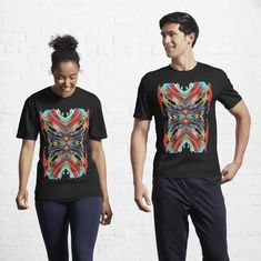 Graphic red, multicolor, abstracto Active T-Shirt