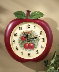 Vintage Look Red Apple Shaped Decorative Kitchen Wall Clock Country Decor Apple Kitchen Decor, Kitchen Wall Clocks, Kitchen Decor Themes, Farmhouse Kitchen Decor, Kitchen Ideas, Kitchen Tips, Farmhouse Style, Country Kitchens, French Farmhouse