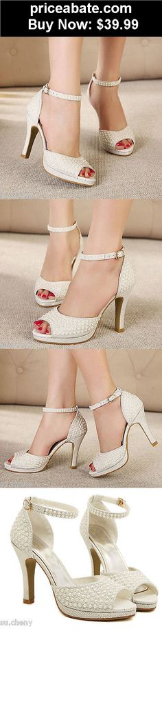 JUST UPDATED: Wedding-Shoes-And-Bridal-Shoes:  Ivory pearl shine lace open toe heels Bridal ankle strap wedding shoe size  - BUY IT NOW ONLY $39.99