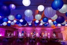 Purple Themed Bat Mitzvah Purple Themed Bat Mitzvah with LED Lanterns on Ceiling & LED Tree Centerpieces at The Fountainhead, New Rochelle