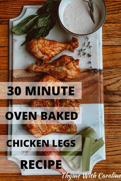 If you need a fast dinner or appetizer, try this recipe for oven barbecue chicken legs, done in just 30 minutes! Tangy and juicy, these are easier than fried chicken wings but packed with tender chicken flavor. 14 ingredients. Feeds 3-4 people Oven Barbecue Chicken, Oven Baked Chicken Legs, Chicken Leg Recipes, Chicken Flavors, Fried Chicken, Yummy Appetizers, Appetizer Recipes, Easy Mexican Casserole, Easy Dinner Recipes