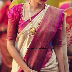 Aren't Pattu sarees and puff sleeve blouses a match made in heaven? Try these dramatic puff sleeve blouses for pattu sarees now! Pattu Saree Blouse Designs, Designer Blouse Patterns, Saree Blouse Neck Designs, Bridal Blouse Designs, Blouse For Silk Saree, Pattern Blouses For Sarees, Silk Sarees, Half Saree Designs, Saree Blouse Patterns