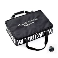 CELEBRATING HOME ZEBRA 9X13 CASSEROLE TOTE WITH PERSONALIZE THIS BUTTON $15.00