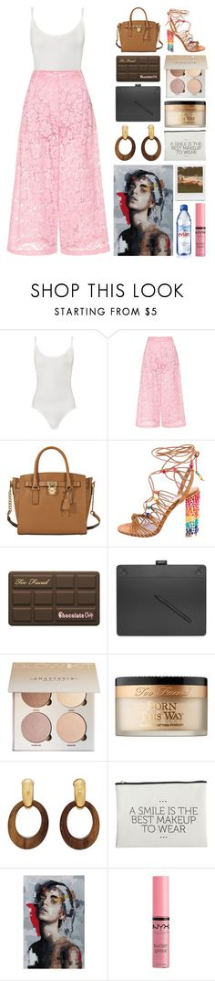 """""""6.891"""" by katrinattack ❤ liked on Polyvore featuring WearAll, Valentino, MICHAEL Michael Kors, Salvatore Ferragamo, Too Faced Cosmetics, Wacom, Goossens, House Doctor, Impossible Project and Evian"""