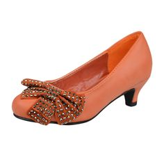 Kids Dress Shoes Embellished Studs Side Bow Dress Pumps Orange Girls Dress Sandals, Kids Dress Shoes, Orange Dress, Dress With Bow, Little Princess, Studs, Kitten Heels, Bows, Pumps